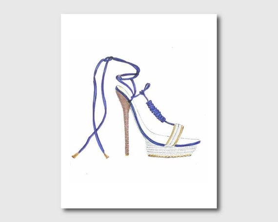 Blue watercolor shoe fashion illustration high heel silhouette girls