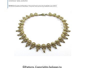 MYMOSA Swarovski Pearls and SuperDuo Beadwork Necklace tutorial instructions for personal use only