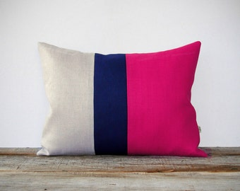 As seen in COUNTRY LIVING MAGAZINE: Color Block Pillow in Hot Pink, Navy and Natural Linen Stripes by JillianReneDecor Modern Home Decor