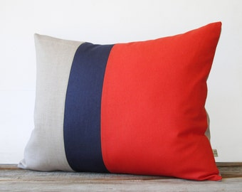 Color Block Pillow in Poppy Red, Navy and Natural Linen (16x20) by JillianReneDecor Modern Home Decor - Striped Trio - Tango - Colorblock