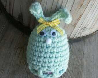 Crochet easter egg Bunny cozy,pick your color. fun, seasonal,  & cute. covers plastic Easter egg.