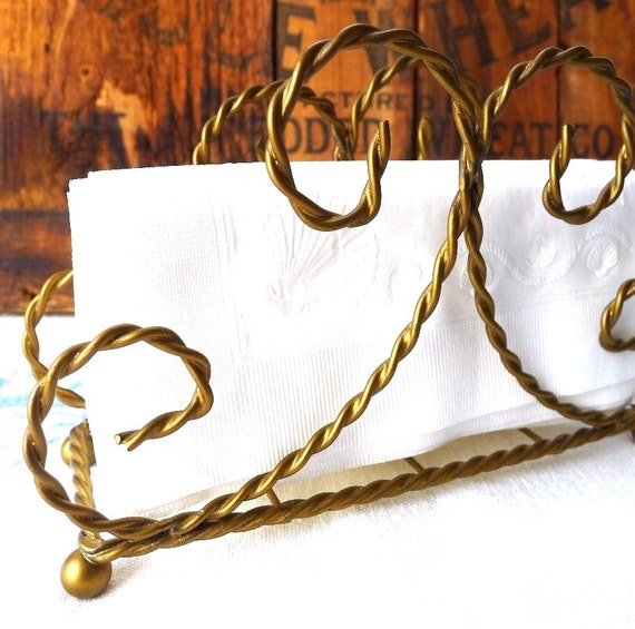 Vintage Antique Gold Wire Napkin Holder Twisted Wire Kitchen Dining Table Accessory - Treasury Item