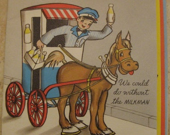 Vintage Hallmark Greeting Card Miss You Milkman Dentist Used but not Abused