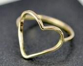 Handmade Solid Gold Heart Ring, 14K Yellow Gold, Anniversary Love Gift, Sea Babe Jewelry