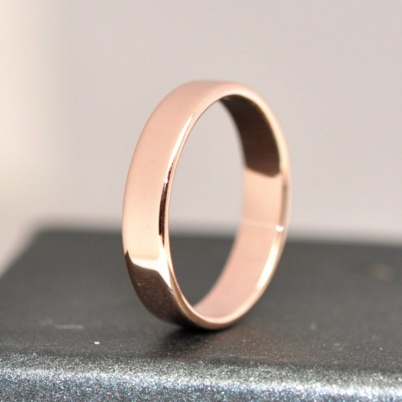 14k gold wedding band 4mm recycled gold by seababejewelry