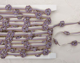 LAVENDER Glass Beaded Pansy Fabric Flower Ombre Ribbon Trim Shabby Chic Candy Stripe Scrapbook Doll Quilt