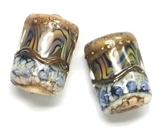 Glass Lampwork Bead Sets - Six Beige & Ivory Mini Kalera Beads 10902403