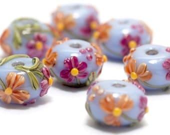 Handmade Glass Lampwork Bead - Seven Morgan's Bouquet Rondelle Beads 10604401