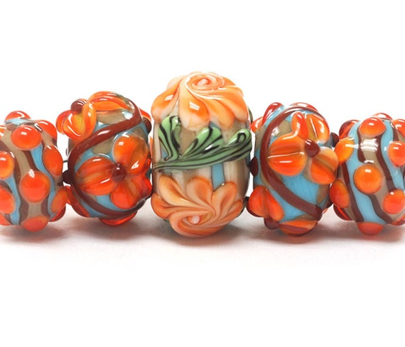 Handmade Glass Lampwork Bead  - Five Graduated Turquoise w/Brown Rondelle Beads - 11002211