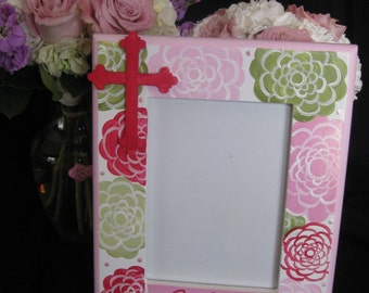 hand painted personalized first communion picture frame amy flower