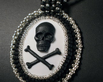 Black & White Skull and Crossbones Necklace