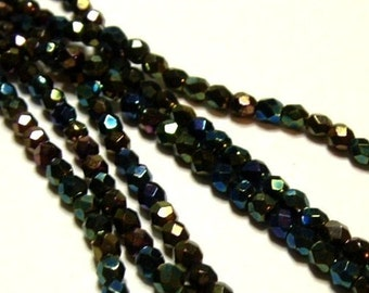 BEADS 3mm Vintage Czech Glass Fire Polish Jet Black with Metallic Peacock finish (50) - small delicate Charlottes 1940s