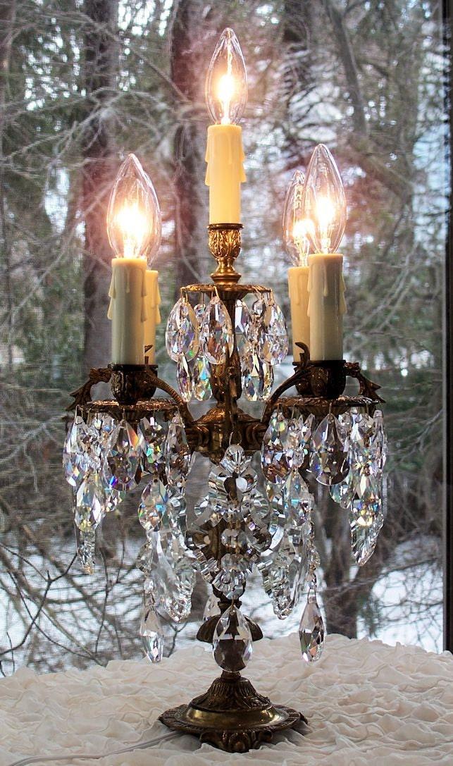 Vintage Brass Bronze Crystal Candelabra Table Lamp