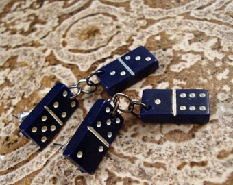 "Domino Earrings Domino Jewelry Miniature Vintage Blue and White Button Earrings Dangles Pierced ""Go Lucky"" FREE SHIPPING #2014-038"