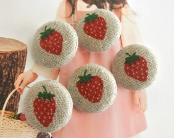 Handmade Rustic Country Little Beige Red Strawberry Fruit Fabric Covered Buttons, Small Strawberry Fruit Fridge Magnets, 1 Inch 5's