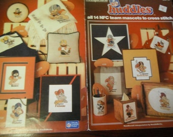NFL Cross Stitch NFL Huddles all 14 NFC Team Mascots Needleworks 705 Counted Cross Stitching Leaflet