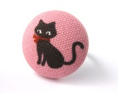 Cat Ring - Pink and Brown Cat Fabric Covered Button on Adjustable Ring