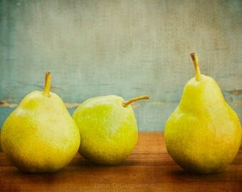Still life Photography, green pear print, kitchen decor, food photography
