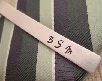 Personalized Tie Clip -  Sterling silver Tie Clip - Hand Stamped Tie Clip -Sterling Silver Tie Bar - Monogram Tie Clip