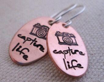 Hand Stamped Earrings - Capture Life Earrings - Camera Earrings - Stamped Jewelry