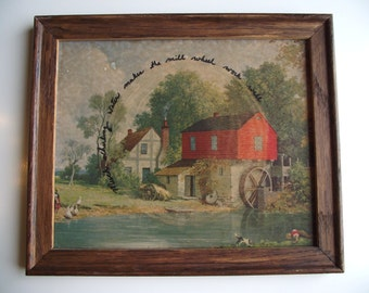 Altered Thrift Store Art - Tongue Twisting Mill