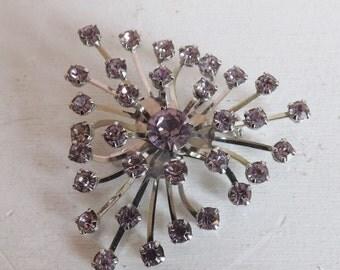 Vintage purple rhinestone brooch lavender rhinestone brooch atomic brooch rhinestone starburst brooch