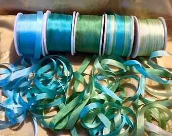 Mermaid Green 7 mm silk ribbon 25 yards