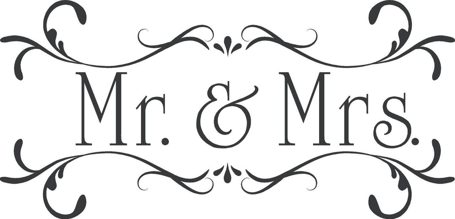 Wedding mr mrs custom wall decor words vinyl lettering decal for Decoration word