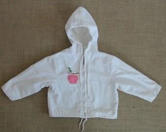 Vintage Jacket Coat Child Girl Toddler White Spring Apple Pink