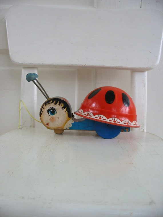 Vintage Pull Toy Fisher Price Ladybug Children Wood Retro