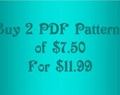 Buy 2 PDF patterns of 7.50 for only 11.99