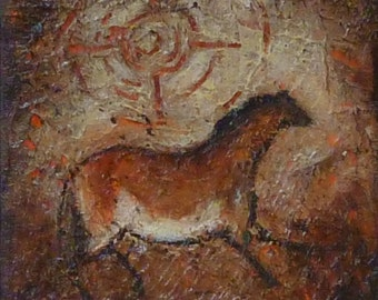 Cave horse original small ready to hang canvas Petroglyph Horse