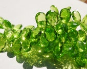 SALE Hydro Peridot, Flat Faceted Pears, 13 mm, Sparkly, Transparent, Grass Parrot Green, Parcel of 8 Briolette Beads