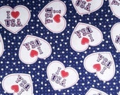 I Love The USA Fabric By The Yard