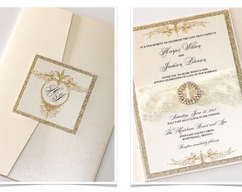 Glitter Wedding Invitation, Lace Wedding Invitation, Vintage Wedding Invitation, Elegant Wedding Invite - Ivory Gold Glitter - Harper Sample