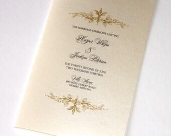 Harper Vintage Style Wedding Program Folded - Minimum order quantity is 50
