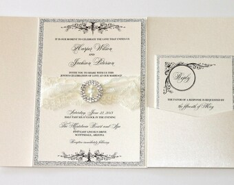 Lace Wedding Invitation, Vintage Wedding Invitation, Elegant Invitation, Glitter Invitation - Ivory Lace Silver Glitter - Harper Sample