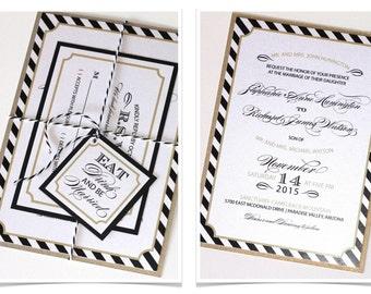 Modern Wedding Invitation - Black White Striped Invitation - Elegant Invitation - Vintage Invitation - Black, Gold, White - Stephanie Sample
