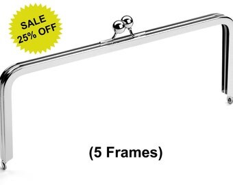 """5pcs - 10"""" x 4"""" Nickel Purse Frame with Ball Clasp - Free Shipping (PURSE FRAME FRM-128)"""
