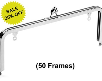"""50pcs - 10"""" x 4"""" Nickel Purse Frame with Teardrop Clasp and Chain Loops - Free Shipping (PURSE FRAME FRM-136)"""