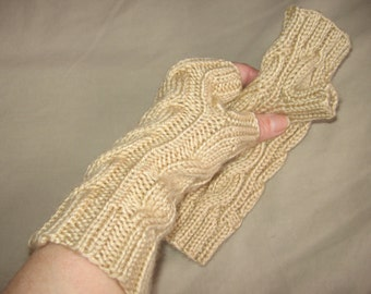 Bone Beige Fingerless Gloves Hand Knit