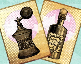 Digital Collage Sheet PERFUME BOTTLES 2.5x3.5in Printable - no. 0126
