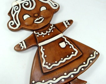 Vintage Gingerbread Lady, Ceramic, Holiday Decor, Kitchen Wall Hanging, Christmas Decoration  (102-13)