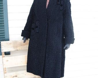 Luxurious vintage 60s black  persian lamb, full length coat. Zwingebero's Alaska Fur  Co. Size S-M