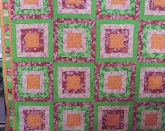 SQUARES WITHIN, Full or Queen size quilt