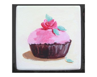 Refrigerator Magnet *  CUPCAKE With ROSE * Hand Painted On Stone * One Of A Kind * By Rodriguez