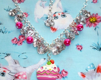 Glitz, Glam and Cake - Bead and button charm necklace with cake charm (pink) On Sale