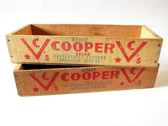 Vintage Wooden Cheese Box Cooper Sharp American Cheese Wood