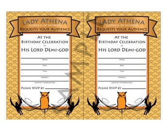 Demi-god/Percy Jackson Inspired/Greek God/ Half-Blood Theme Birthday DIY Invitation-Camp Orange Child of Athena Demi-god Boy,Girl- Digital