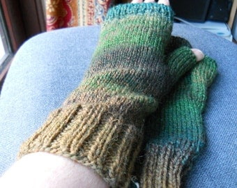 tan green tweed fingerless gloves for a man